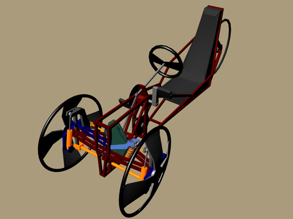 Refined concept of human powered leaning reverse trike